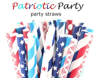 Red, white and Blue straws-Memorial day party, 4th of July party, stars and stripes, red, white and blue party straws