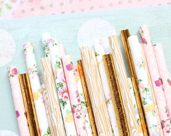 Rustic Floral and Wood Grain paper straws-set of 25-Rustic party, garden party straws, tea party straws, wood grain and floral wedding straw