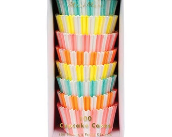 Neon Striped Cupcake Wrappers-rainbow cupcakes, circus cupcake wrappers, rainbow cupcake wrappers