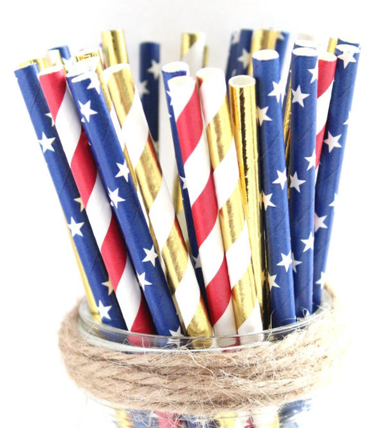 Red White Blue and Gold straws-Memorial day party 4th of image 0