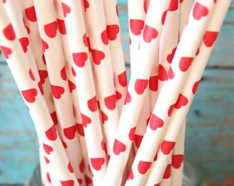 Red heart paper straws, set of 25, valentines day party straws, valentines party, red heart straws, queen of hearts party
