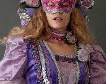 Venetian Carnival Gown Headdress, Mask, Necklace Choker, Masquerade Ball