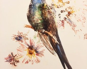Giclée Print; Hummingbird Illustration 'Be Still' - Psalm 46:10, Watercolor, Inspirational Art