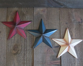 set of 3 country primitive 6 red white and blue barn stars rustic patriotic usa americana craft supplies wall decor