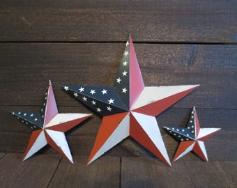 set of 3 red white blue flag barn star patriotic americana primitive country wall decor 12 inch 8 inch and 5 inch