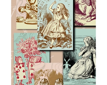 Alice One - digital download - gift tags - labels - decoupage - scrapbooking - crafts - Raspberry Hall