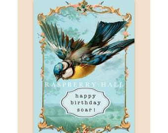 A-46 - BIRTHDAY CARD - Soaring Bird - Raspberry Hall