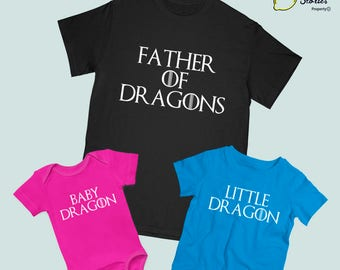 FAMILY SET Price for 1 shirt, Game of Thrones theme, Mother of Dragons, Father of Dragons, Kid Little Dragon, Onsie Baby Dragon