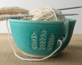 Ceramic Yarn Bowl, Three Pines crochet bowl,  pottery wool bowl, ceramic knitter's bowl, knitting and crochet accessory, handmade