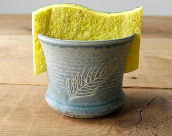 grey feather ceramic sponge holder , kitchen sponge holder, pottery sponge dish, sponge holder for kitchen sink, sponge caddy