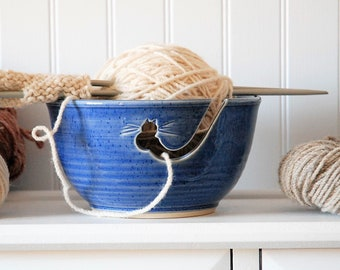 blue cat ceramic yarn bowl, cat crochet bowl,  pottery wool bowl, wheel thrown yarn bowl, knitter's bowl, unique yarn bowl