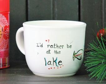 pottery coffee mug, I'd rather be at the lake Handmade ceramic mug, Great for brownie, cake, tea, hot chocolate or soup, Christmas gift idea