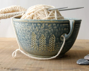 Ceramic Yarn Bowl, Three Pines crochet bowl,  pottery wool bowl, ceramic knitter's bowl, knitting and crochet accessory, handmade