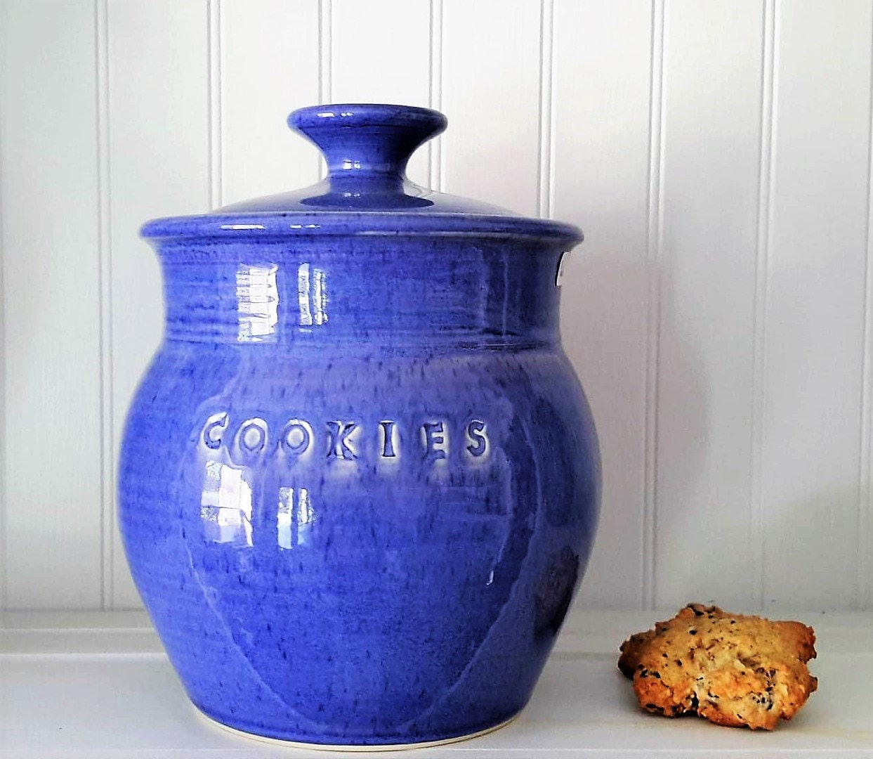 Ceramic Cookie Jar Blue Ceramic Storage Jar Kitchen