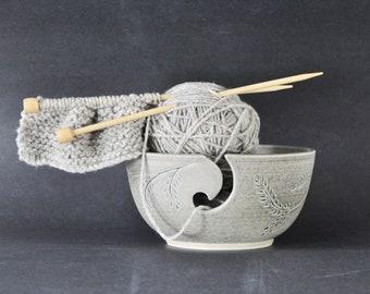 ceramic yarn bowl with garland, soft gray garland crochet bowl,  pottery wool bowl, wheelthrown yarn bowl, knitter's bowl, unique yarn bowl