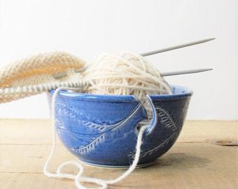 blue ceramic yarn bowl, garland crochet bowl,  pottery wool bowl, wheelthrown yarn bowl, knitter's bowl, unique yarn bowl