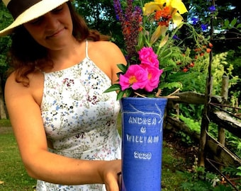 Personalised handmade wedding gift, personalised ceramic vase, bridal shower gift, handmade ceramic anniversary vase, commemorative vase