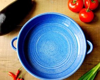 blue ceramic casserole dish, ovenproof au gratin dish, ceramic baking pan, casserole dish, pottery serving dishes, ceramic baking dish,