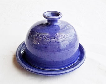 Butter dish with lid, blue pottery butter dish, covered ceramic butter keeper, tableware, covered butter dish, butter dish, pottery