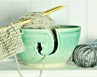 Turquoise Cat Ceramic Yarn Bowl, ceramic knitting bowl,  knitting and crochet accessory, pottery yarn bowl, gift for knitters