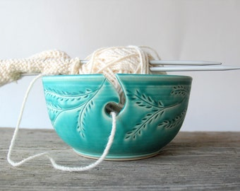 ceramic yarn bowl with garland, turquoise garland crochet bowl,  pottery wool bowl, wheelthrown yarn bowl, knitter's bowl, unique yarn bowl