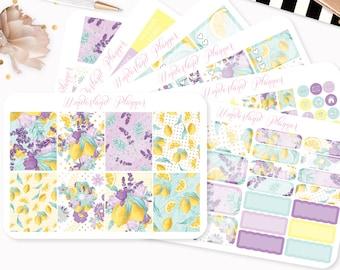 Lemons & Lemonade - Sticker Kit or A La Carte Sheets - Summer Fruit Themed Planner Weekly Kit - 180+ Stickers Erin Condren Vertical Planner