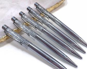Silver Chrome Floating Glitter Filled Sparkle Foil Pen