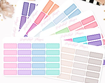 Scallop Quarter Boxes Functional Planner Stickers // Quarter Box Designs // Fits Standard Vertical Planners