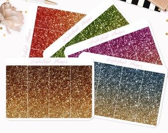 Gold Ombre Glitter Header Planner Stickers // Fits Standard Vertical Planners