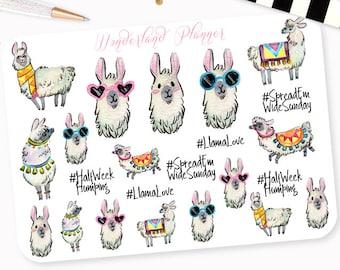 Llama Love - Watercolour Decorative Planner Stickers