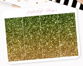 Ombre Glitter Header Planner Stickers - Emerald Green & Gold // Perfect for Erin Condren Vertical Life Planner