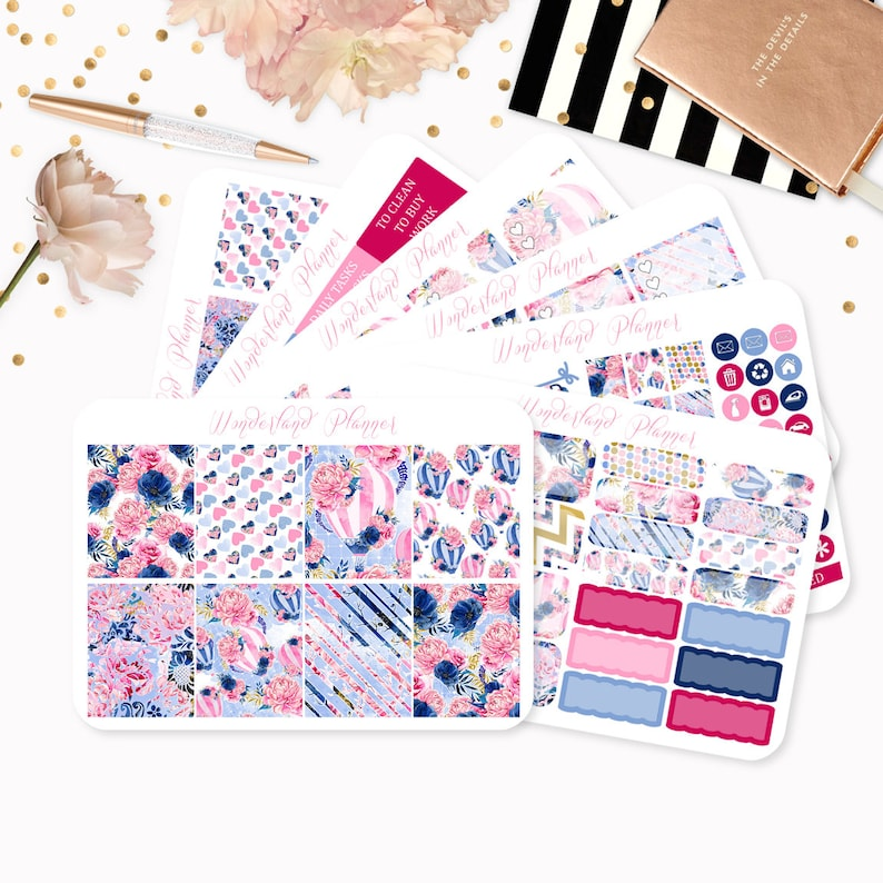 Slowly Drifting  Sticker Kit or A La Carte  Floral Hot Air Full Kit - Sheet 1-7