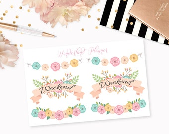 Weekend Floral Banners // Decorative Planner Stickers