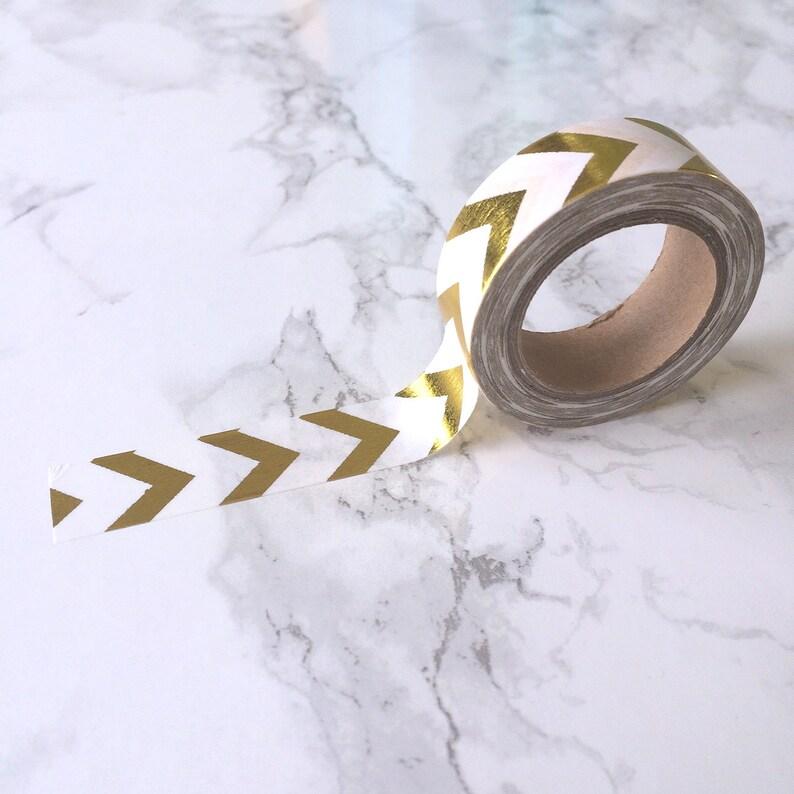 White & Gold Foil Chevron Stripe Washi Tape // Decorative image 0