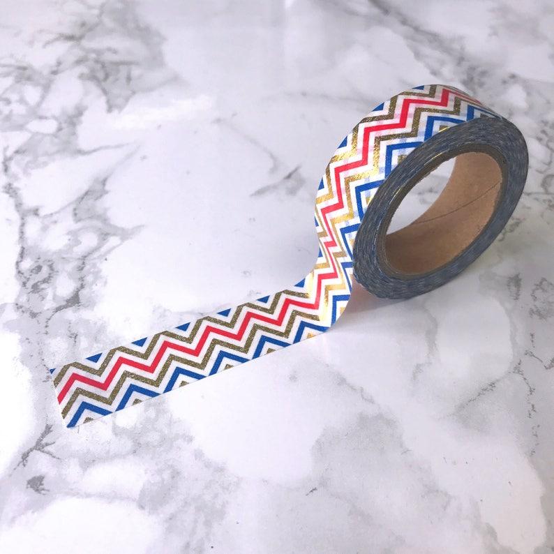 Red Blue & Gold Foil Chevron Washi Tape // Decorative Paper image 0