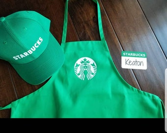 Kids - Dress Up Set - Starbucks Barista Outfit Apron and/or 2 Blank Name Tags