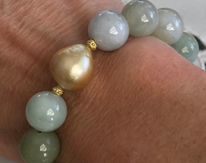 Cultured Golden South Sea Pearl and Jadeite Bracelet, 14k (JB4)