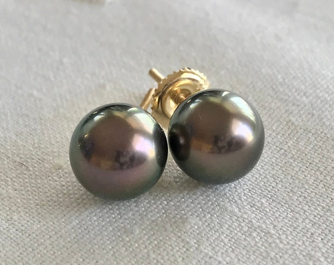Cultured Tahitian Pearl Stud Earrings, 14k Gold