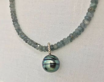Cultured Tahitian Pearl and Moss Aquamarine Necklace, 14k White Gold (MM13)