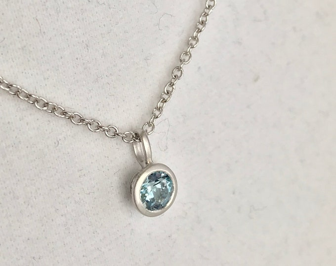 Cultured Tahitian Keshi Pearl, Aquamarine, 18k White Gold Necklace (NSN1)