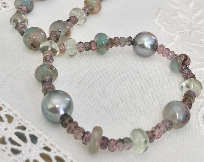 Cultured Tahitian Pearl, Aquaprase™, Prasiolite, and Zircon Necklace, 14k Yellow Gold (SGN4)