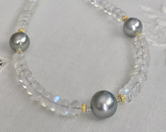 Cultured Tahitian Pearls, Moonstones and 14k Yellow Gold Necklace (LBL3)