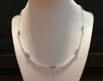 White Topaz Aquamarine Black Spinel Freshwater Pearl Evil Eye Necklace, 14k White Gold (MM27)