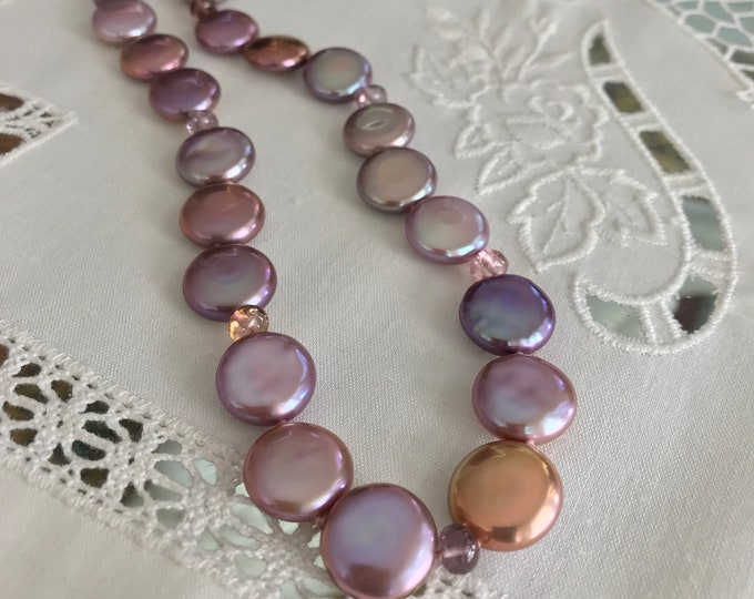 Cultured Freshwater Coin Pearl and Tourmaline Necklace, 14k Yellow Gold (MM50)