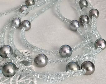 Cultured Tahitian Pearls and Aquamarine beads necklace (MM1)