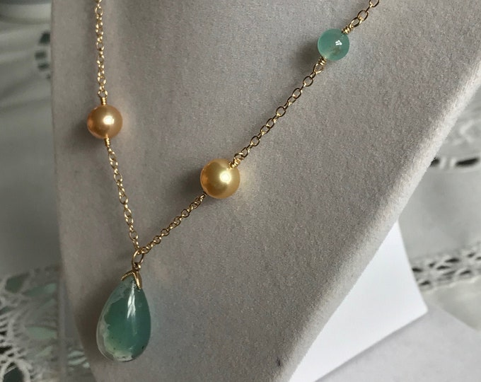 Cultured Golden South Sea Pearls and Aquaprase™ Necklace, 14k Gold (SGN9)