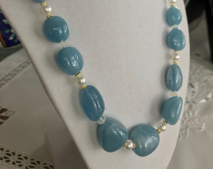 Cultured Akoya Pearls, Aquamarine, Opal and 14k Gold Necklace (AAN1)
