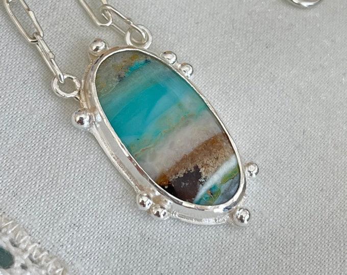 Blue Opalized Wood Funky Link Necklace, Silver (BOFLN2)