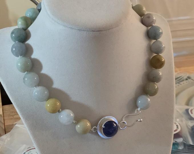 Jadeite Bead Necklace with Tanzanite Toggle Clasp, Fine/Sterling Silver (JTN1)