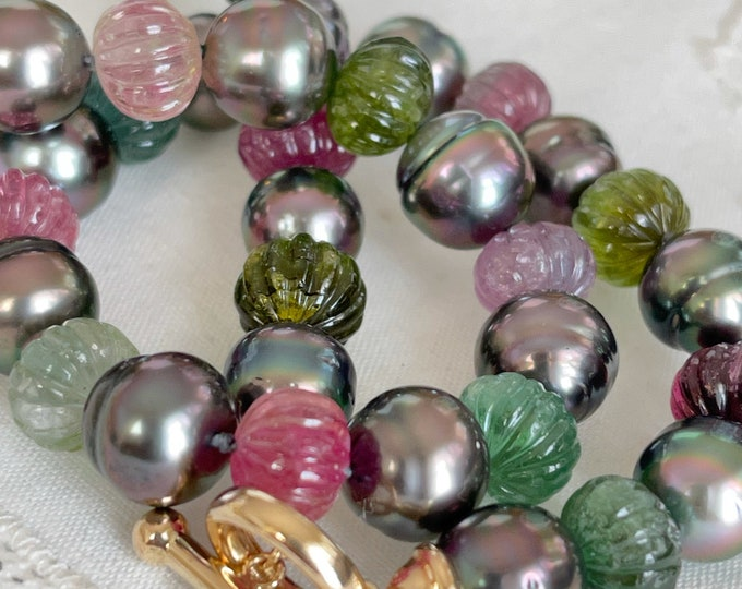Cultured Tahitian Pearl and Carved Tourmaline Bead Necklace, 14k (TNT2)